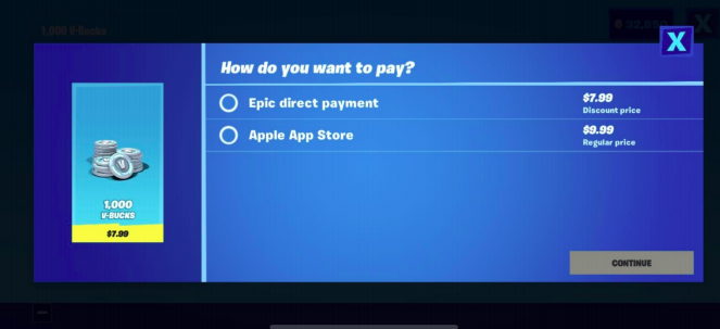 Fortnite out of the store